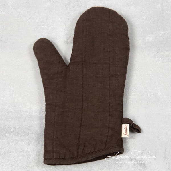 Dark brown linen oven glove, GAMMA.