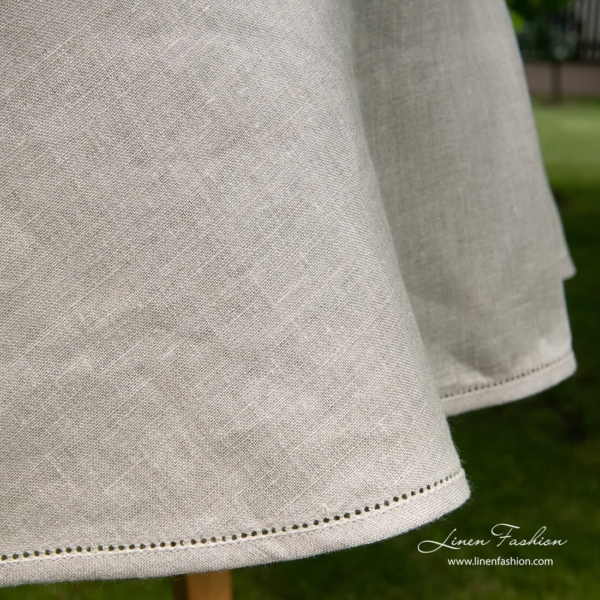 Natural grey 100% linen round tablecloth.