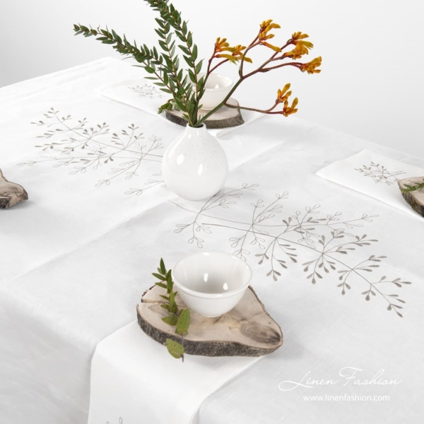 100% linen tablecloth in off-white color, juta.