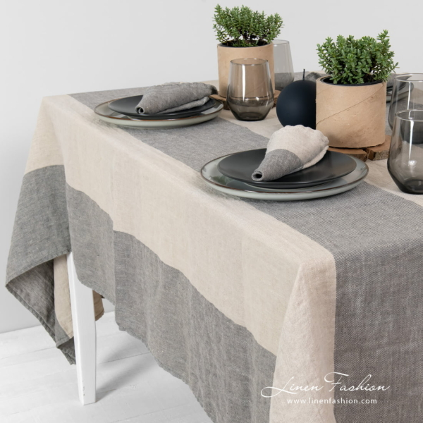 ivo linen tablecloth in grey.