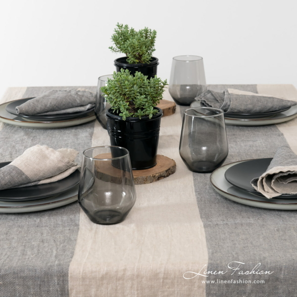 Grey colored tablecloth IVO.