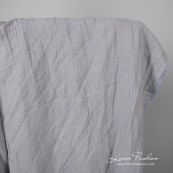Washed grey blue patterned linen fabric