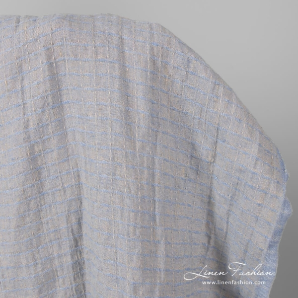 Pure linen patterned ash grey and blue fabric, washed