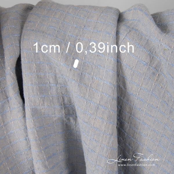 Grey blue linen fabric in interesting check pattern