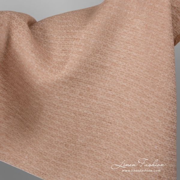 Light brown linen fabric with flowers