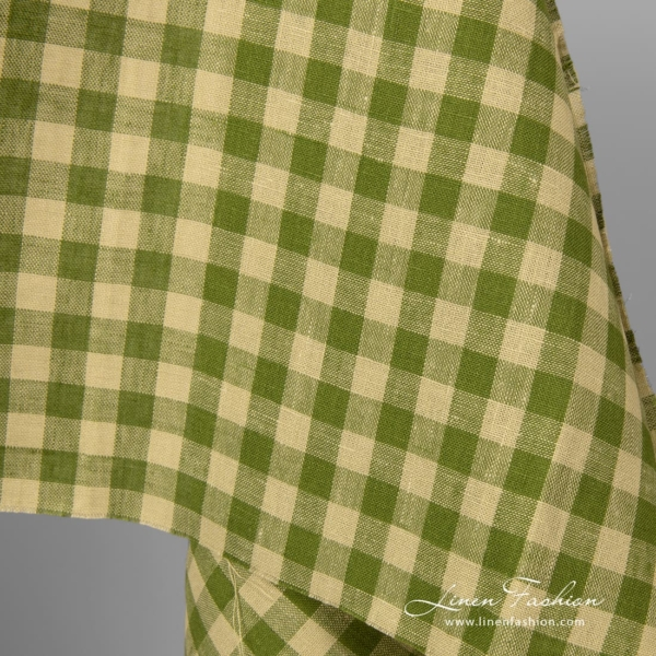 Green checked linen fabric