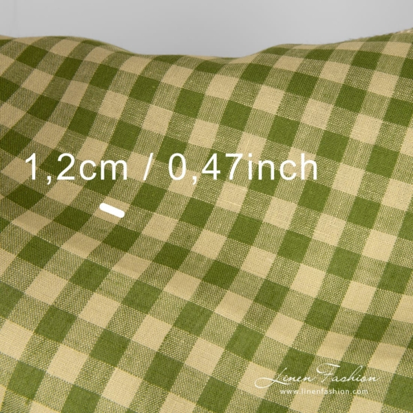 Green checked linen fabric, check size