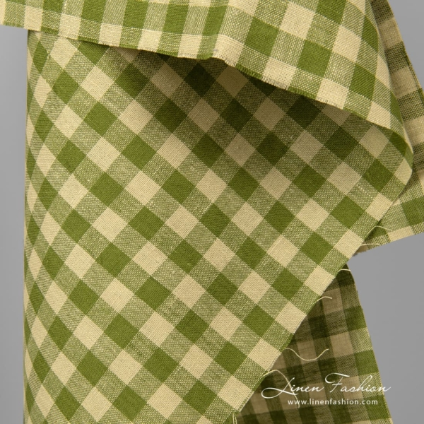 Linen fabric in pale green and fern green checks
