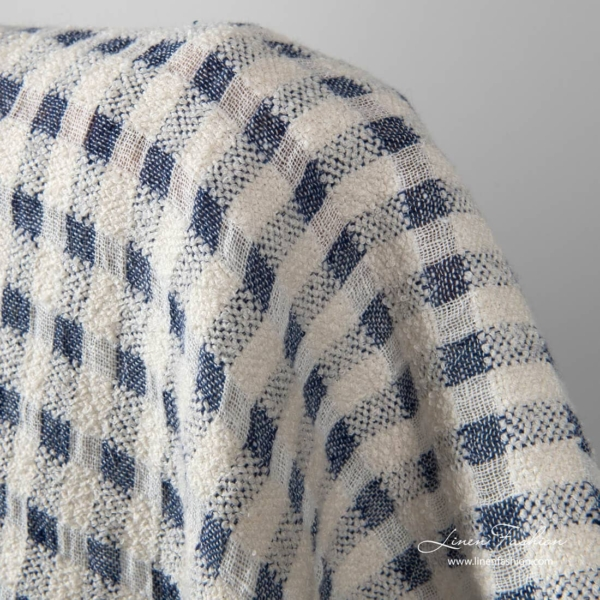 Linen cotton fabric in white cotton fancy checks and navy open weave checks
