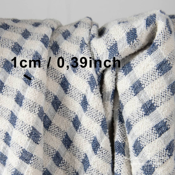 Washed linen blend fabric, white and navy checks