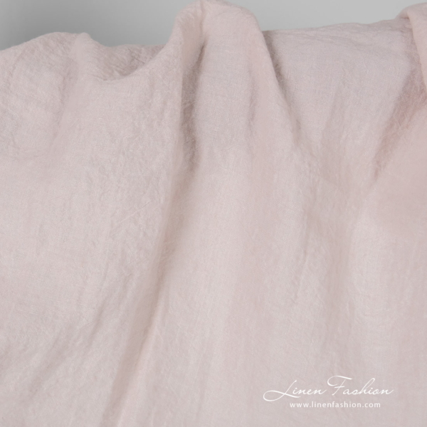 Wide light pink linen fabric, washed