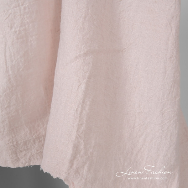 Light pink linen fabric in extra wide width, washed