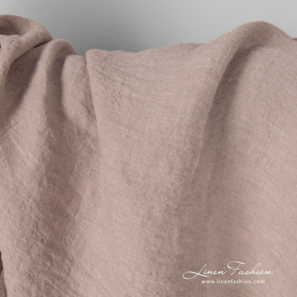 Washed smokey rose linen fabric, extra width