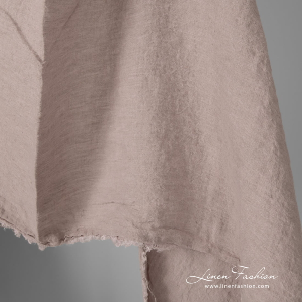 Smokey rose color linen fabric, softened