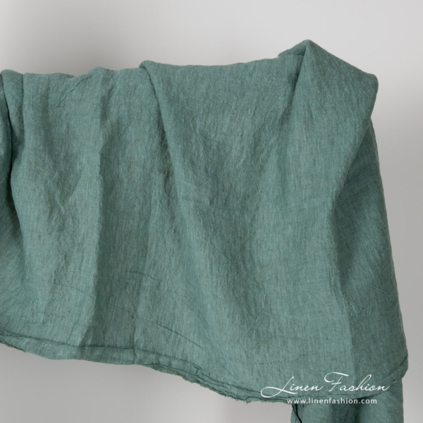 Wide green fabric, washed linen