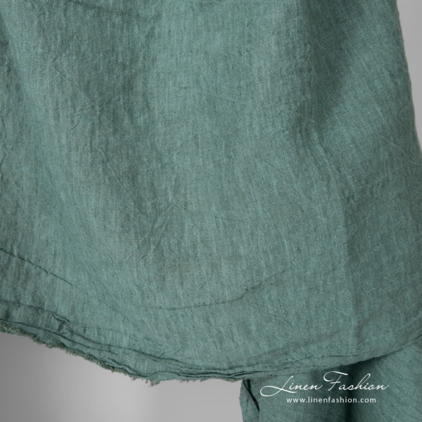 Extra wide washed green linen fabric
