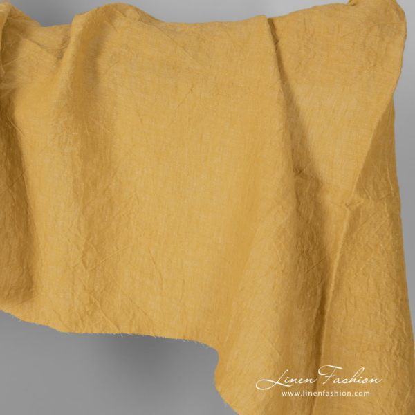 Wide yellow linen fabric, washed