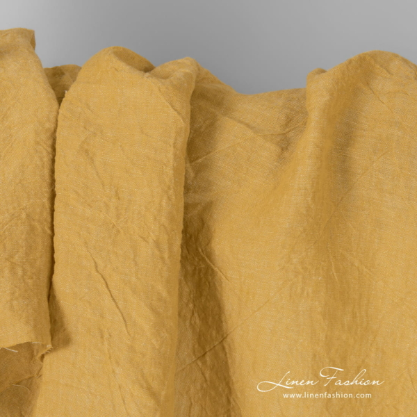 Extra wide yellow fabric, washed linen