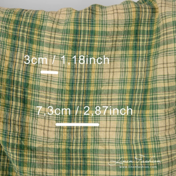Washed linen fabric in green, yellow checks with check size