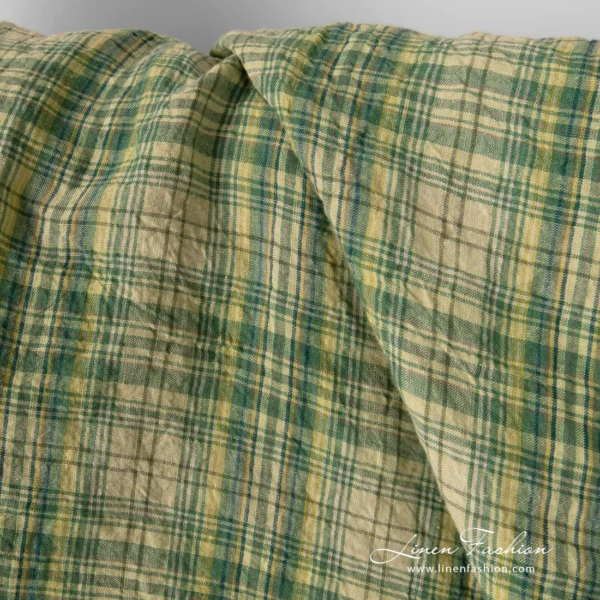 Washed green checked linen fabric