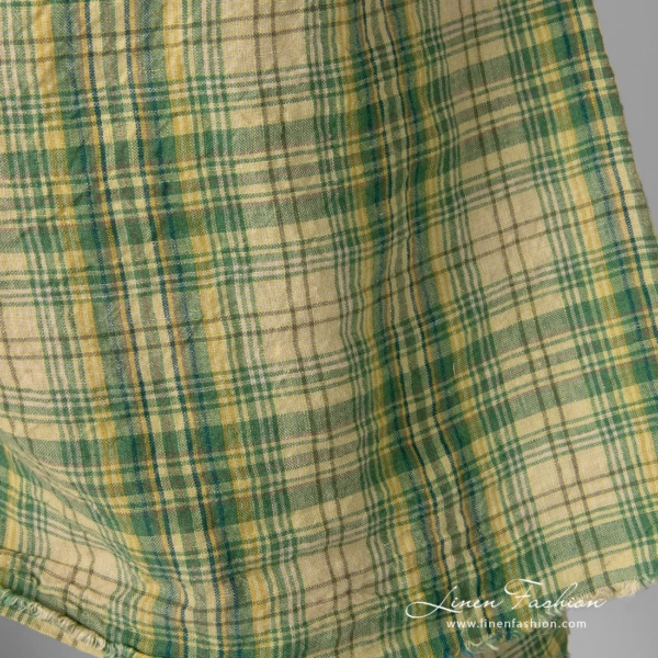 Washed linen fabric in green, yellow checks