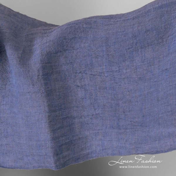 Washed linen extra wide blue fabric