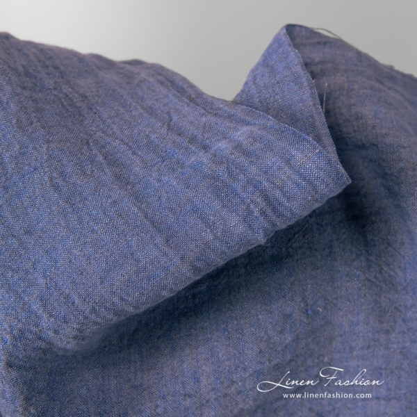 Wide blue linen fabric, washed