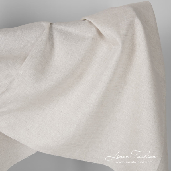 Wide white flax melange linen fabric