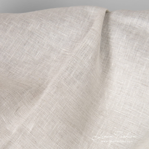 Linen fabric in natural grey and white melange mix
