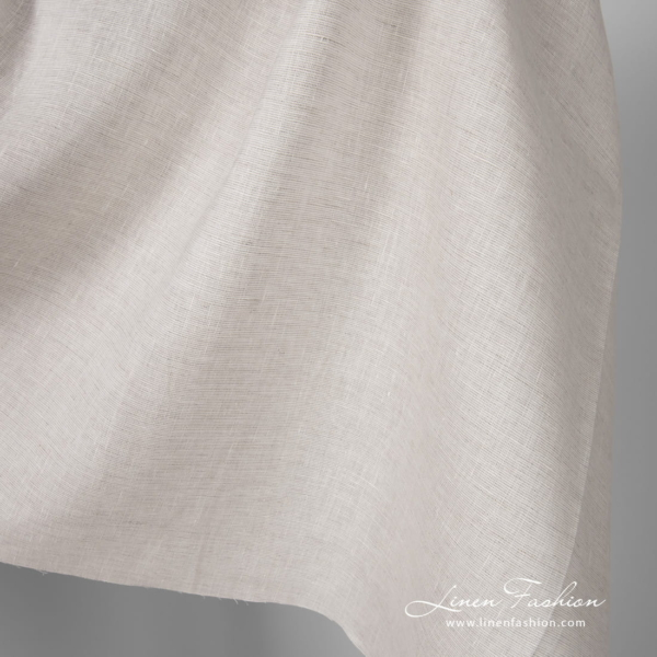 Pure linen fabric in natural grey and white colour