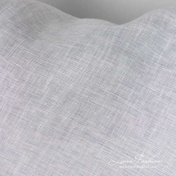 Pure linen white and blue gray melange fabric