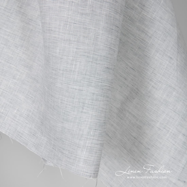 Melange linen fabric in white and bluish gray color
