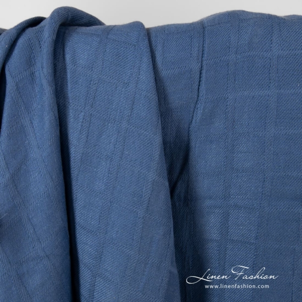 Blue check pattern linen cotton fabric, washed