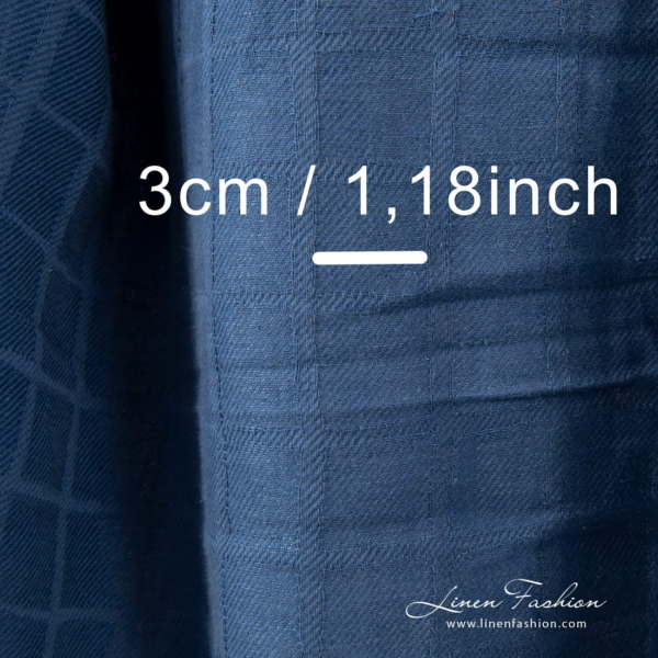 Washed blue jacquard linen blend fabric, checked
