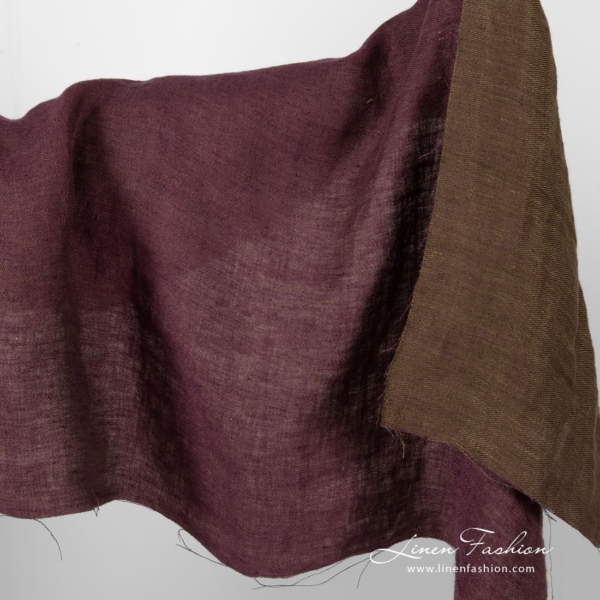 Washed double sided purple/green linen fabric