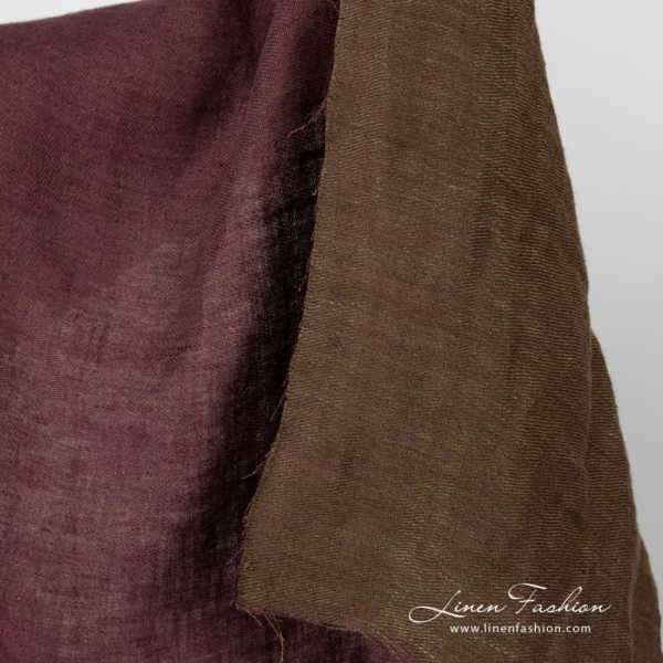 Double sided linen fabric, purple and green, washed