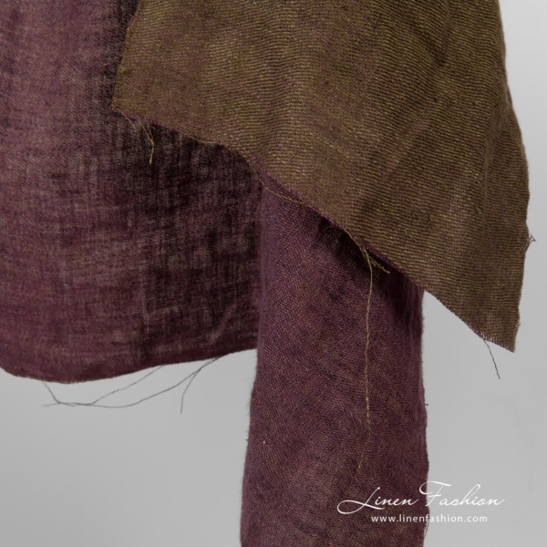 Satin weave washed linen fabric, one side green other is purple
