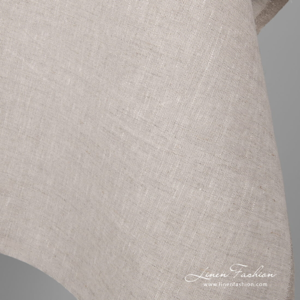Plain weave linen fabric in oatmeal color