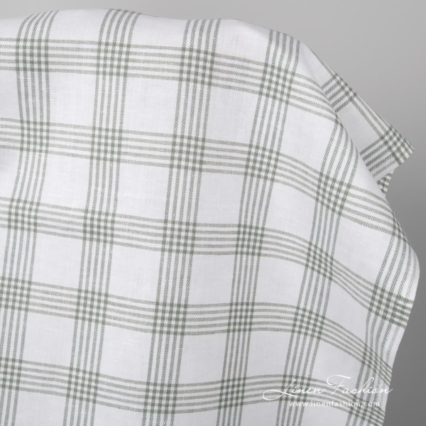 right white linen blend fabric with grey checks