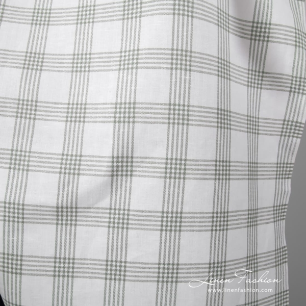 Grey grid checks on white background, twill weave linen cotton fabric
