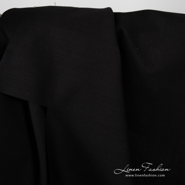 Linen blend fabric in black color