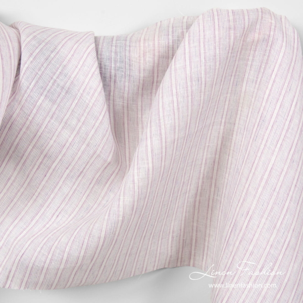 Linen fabric in white and lavender stripes