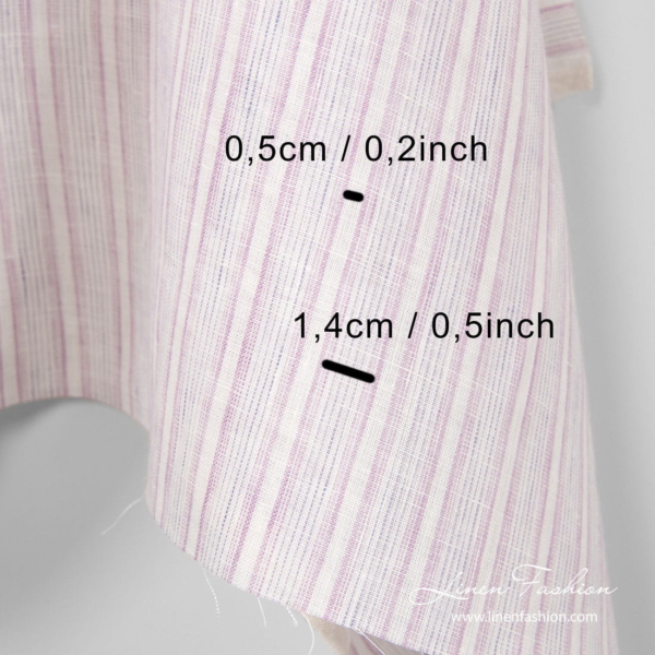 Linen fabric in vertical white and lavender stripes, measurements