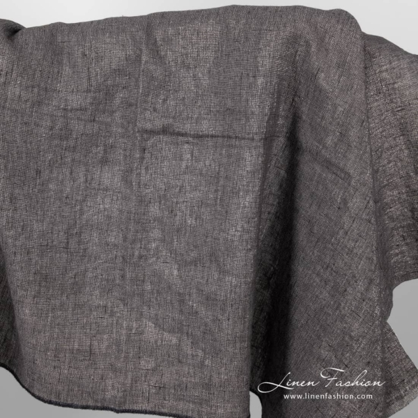 Dark grey linen fabric with silver threads, washed