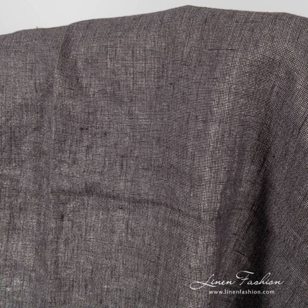 Washed dark grey linen fabric with shiny silver threads