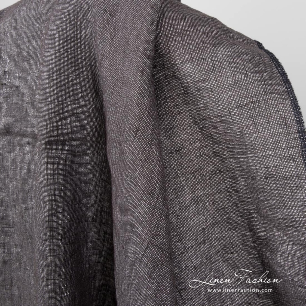 Dark grey linen fabric with silver lurex, washed