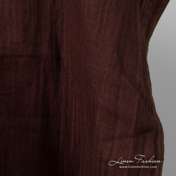 Washed linen fabric in deep wine color