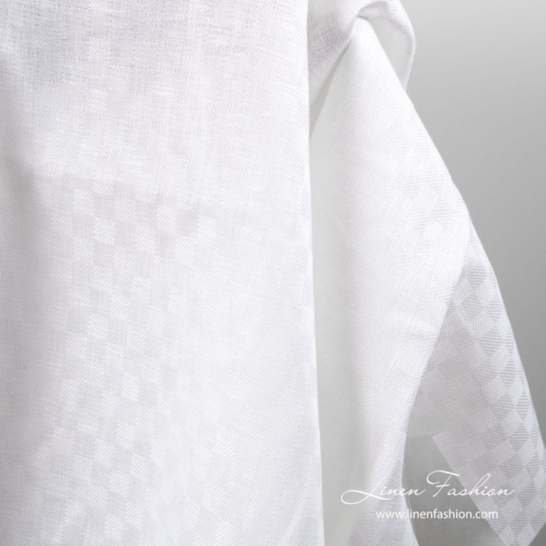 White linen fabric in check pattern