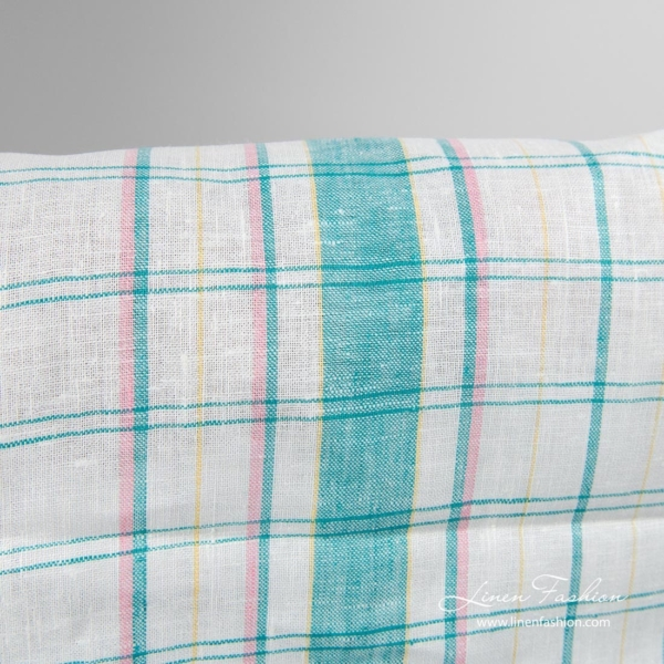 Narrow linen fabric in green checks and yellow, pink stripes
