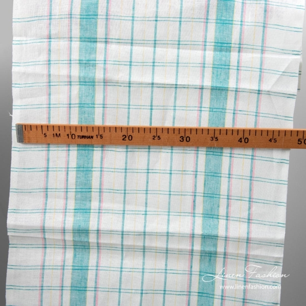 White linen fabric with green checks for kitchen towels